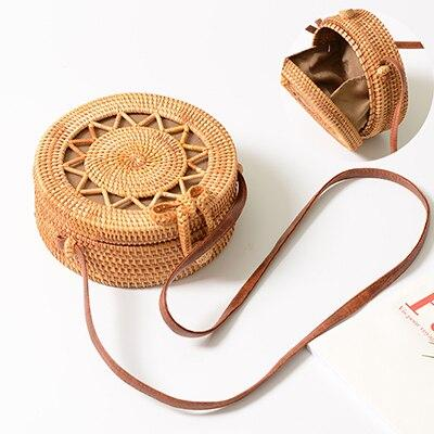 2020 New Women Straw Bag Handmade Rattan Women Round Bohemia Style Beach Circle Bag Hollow Retro Kintted Bow Shoulder Bags