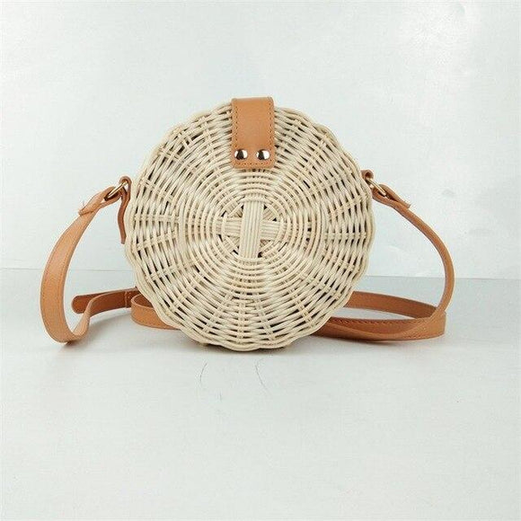 2020  Women Round Straw Bag Rattan Hand-woven Shoulder Bag Fashion Leisure Handbag Bohemian Quality Craft Woven Beach Bag