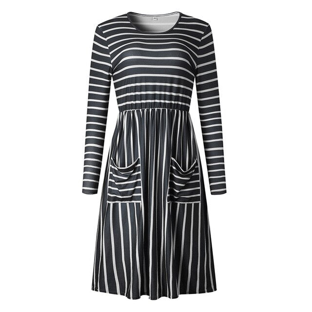 BEFORW Fashion Printed Pocket Women Party Dress 2018 Long Sleeve Autumn Winter Dresses Harajuku Casual Stripe Dress Vestidos