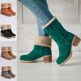 BORRUICE Autumn and Winter Shoes Women Fur Square Thick Heel Mid-Calf Snow Boots Fashion Flat Heel Non-slip Boots Ladies Shoes