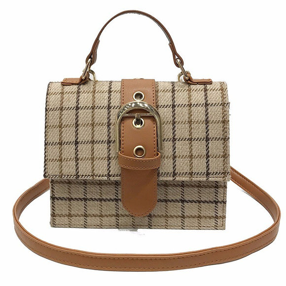 Female Shoulder Bags Wild Plaid Small Square Bag Lock Retro Crossbody Bag Casual Women's Purses And Handbag Bolsos
