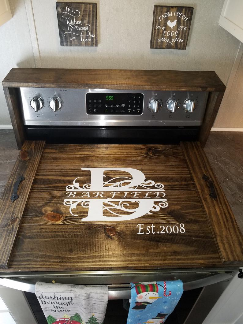 Wooden Stove Top Cover Personalized Stove Top Cover Farmhouse Stove To Canedelynndesigns