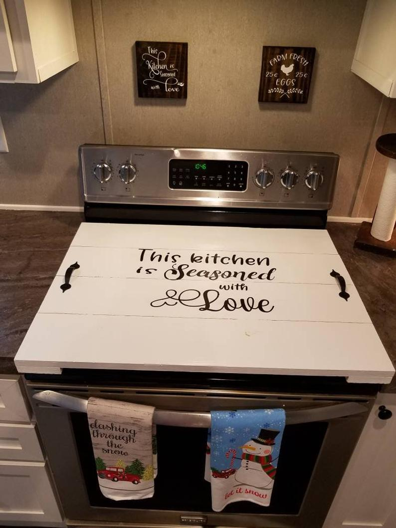 Stove Top Cover Stove Top Covers Wooden Stove Top Cover Distressed Stove Top Cover Canedelynndesigns