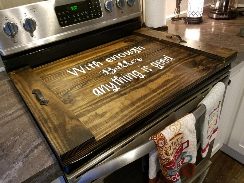 Wooden stove top cover-Farmhouse stove top cover-Coil covers-Kitchen  decor-Christmas gifts-Home warming gift-Stove top cover-Noodleboard