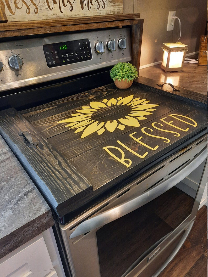 Stove Top Covers Sunflower Stove Top Cover Wood Cover Custom Made Blessed Stove Top Cover Canedelynndesigns