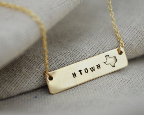 Large Texas Bar Necklace