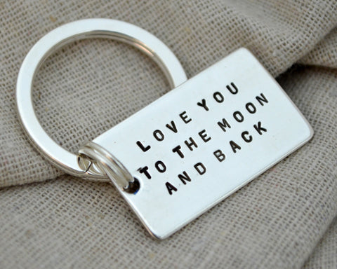 Love you to the Moon Sterling Keychain
