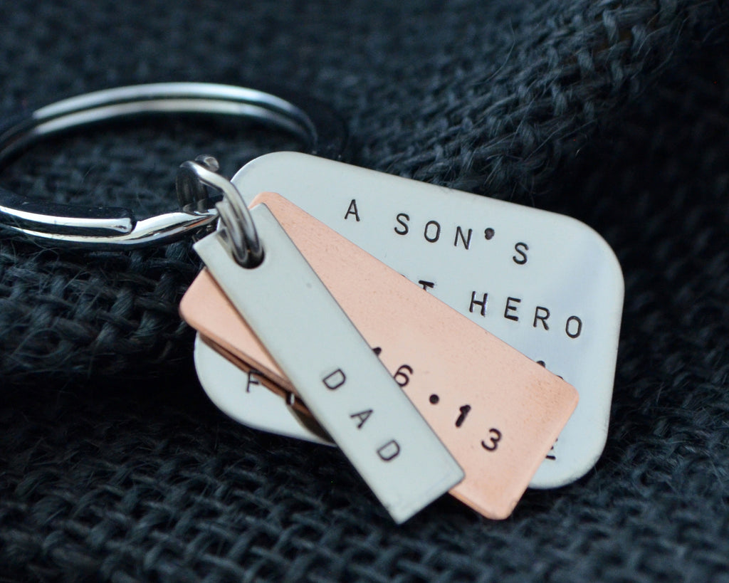 Modern Three Charm Keychain