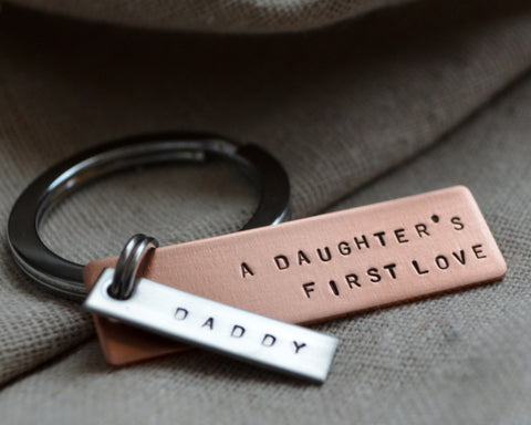 Copper Father Daughter Keychain