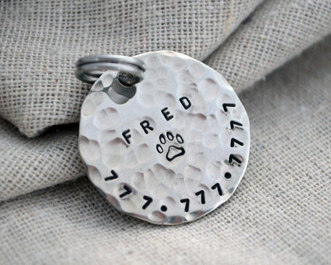 Hammered Medium Pet Tag