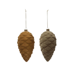 Flocked Glass Pinecone Ornament (2 Colors)