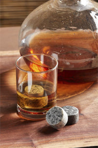 Set of 4 Round Granite Whiskey Stones in Velvet Pouch (2 Colors)
