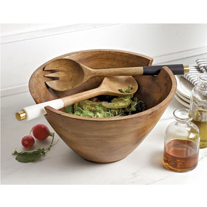 Wood Serving Bowl with Utensils