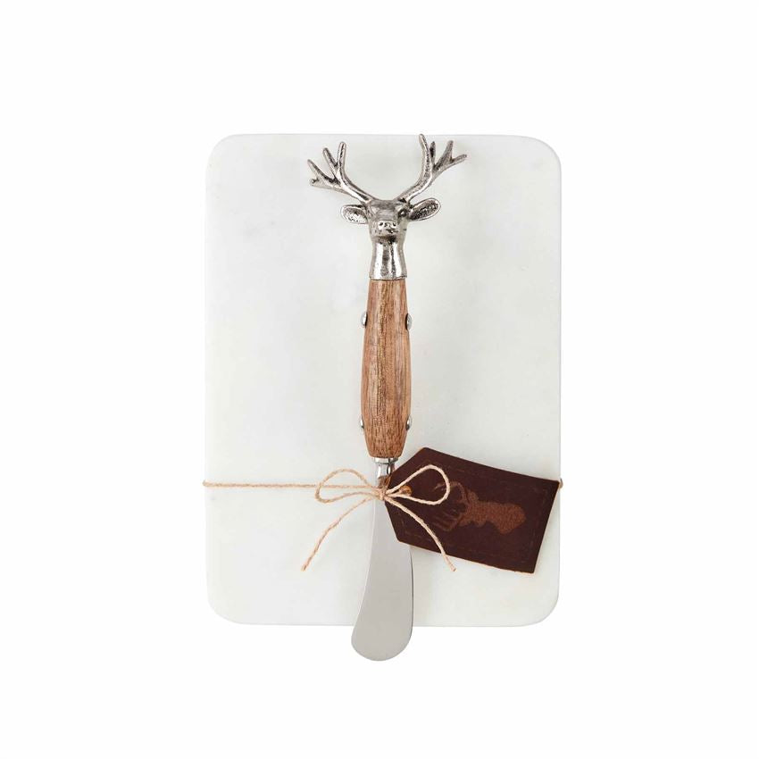 White Marble Serving Board & Deer Spreader Set