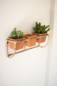 "Bamboo Wall Planter w/Three 4"" Terra Cotta Pots"