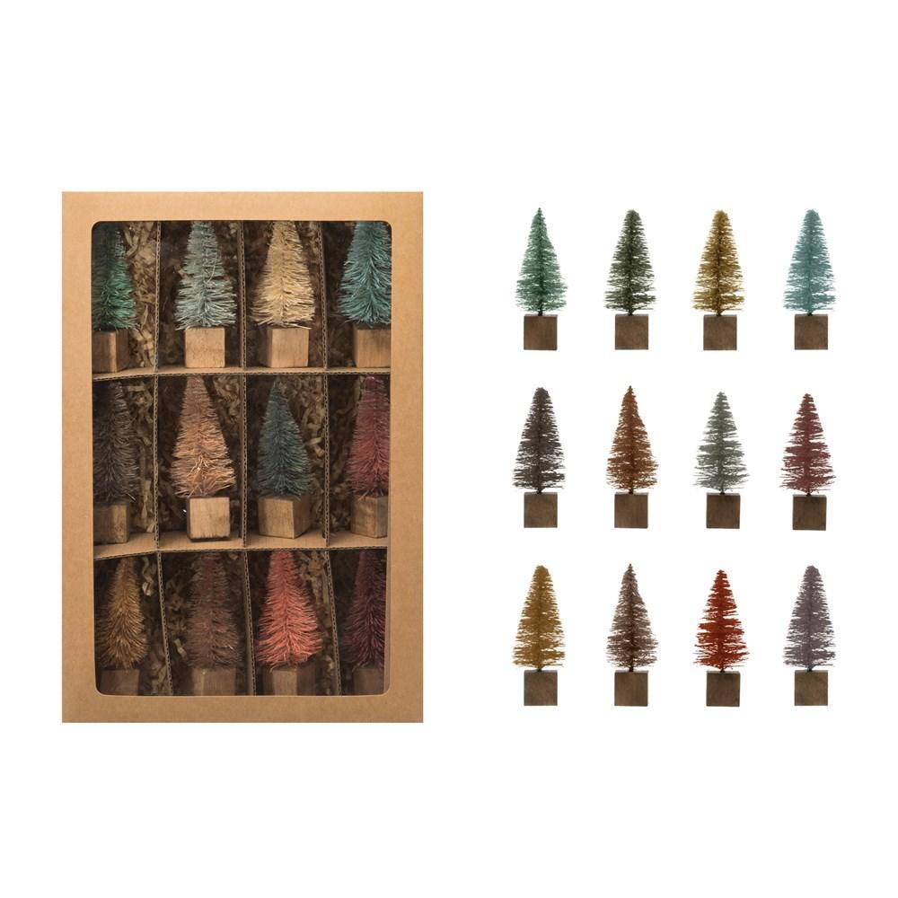 Multi-Colored Bottle Brush Trees Set