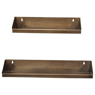 Metal Wall Shelves, Antique Brass Finish, Set of 2