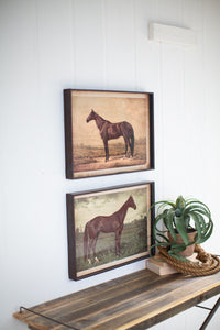 Set of 2 Horse Prints Under Glass