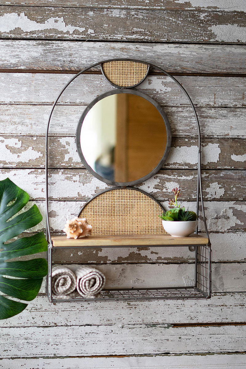 Metal Wall Mirror w/Recycled Wood Shelf & Rattan Detail