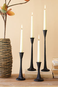 Set of 4 Short Cast Iron Taper Candle Holders