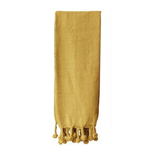 Gold Braided Throw w/ Pom Pom Tassels