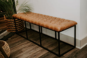 Tufted Brown Faux Leather Bench