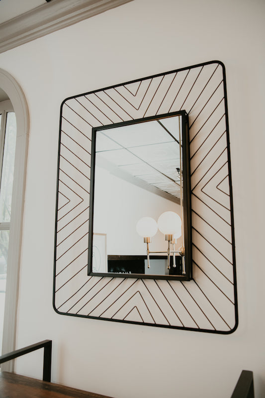 Black Metal Framed Mirror