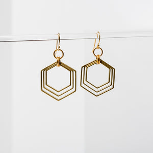 Concentric Hexagon Earrings