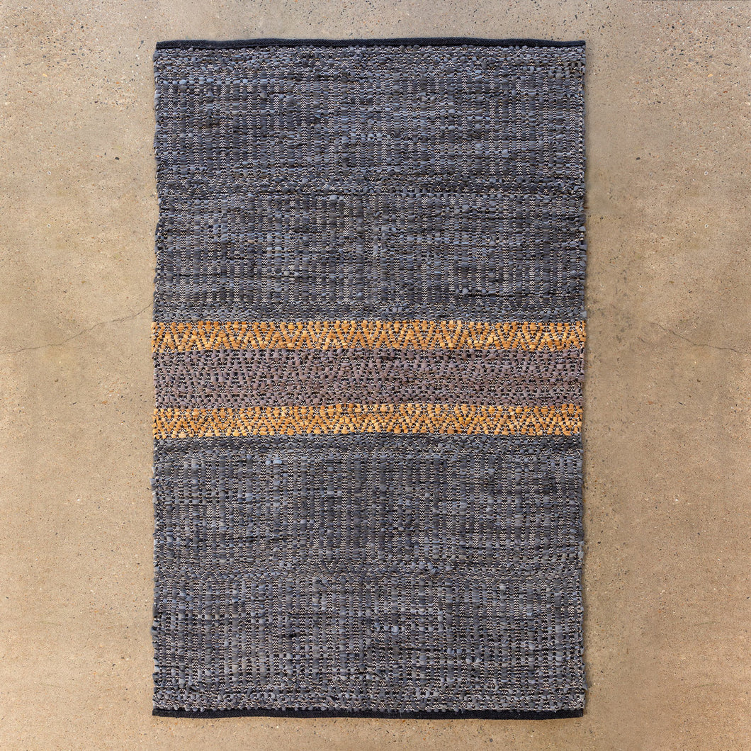 Woven Leather Pattern Rug (Blue-Gray)