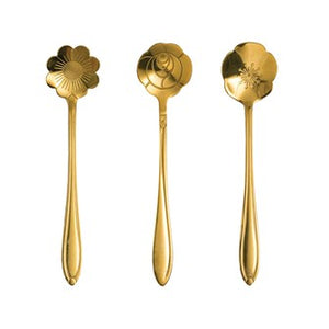 Stainless Steel Flower Shaped Spoons, Gold Finish