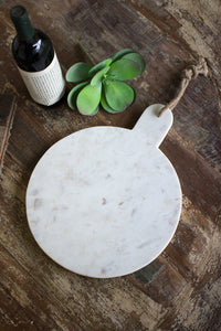 Round Marble Cutting Board w/Jute Tie (2 Colors)