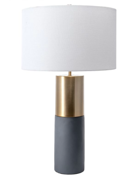 Cement & Brushed Brass Table Lamp