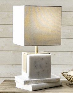 Brass Plated Marble Cube Table Lamp