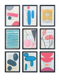 Set of 9 Wood Framed Glass Abstract Book Page Print Wall Decor