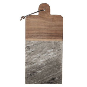Marble & Acacia Wood Tray/Cutting Board w/ Leather Tie & Canape Knife