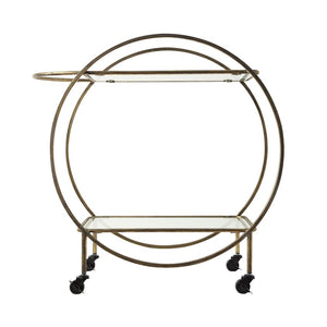 Metal & Glass 2-Tier Bar Cart on Casters, Antique Gold Finish