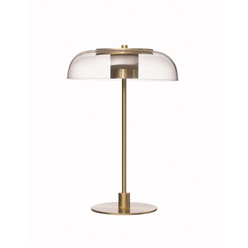 LED Table Lamp w/ Glass Shade & Inline Switch (Gold Finish)