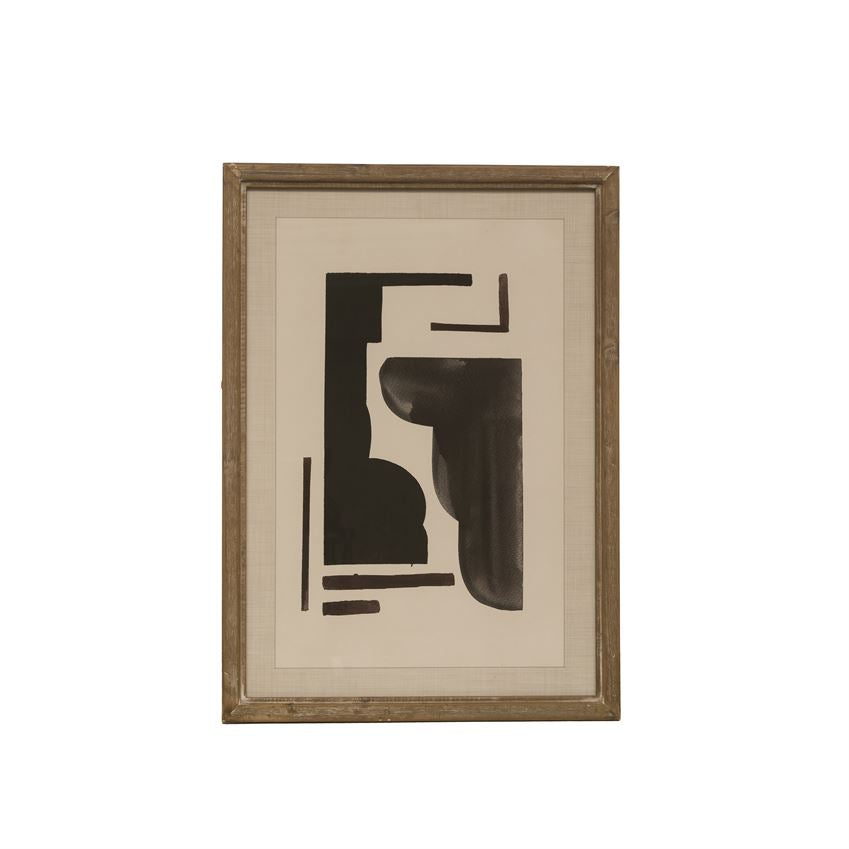 Wood Framed Glass Wall Decor w/ Abstract Design