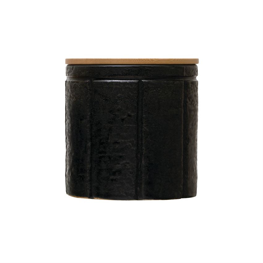 Medium Black Stoneware Canister w/ Bamboo Lid