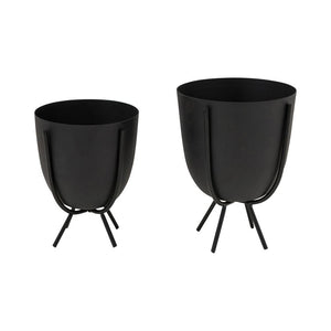 Matte Black Metal Planter with Rounded Botton and Stand (2 Sizes)