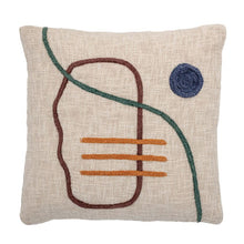 Load image into Gallery viewer, Square Cotton Pillow with Abstract Embroidery