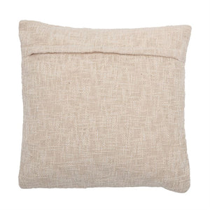 Square Cotton Pillow with Abstract Embroidery