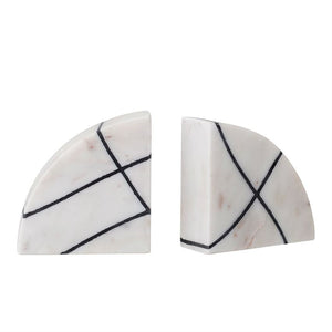 White Marble Bookends w/Black Abstract Pattern