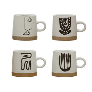 Stoneware Mug w/ Abstract Design