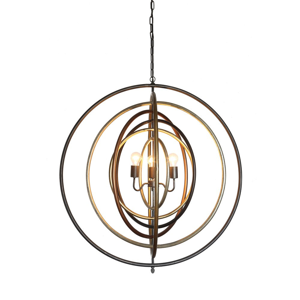 Metal Ringed Pendant Light