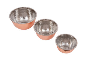 Hammered Stainless Steel Bowls w/ Copper Finish (Set of 3)