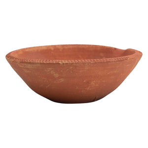 Decorative Terra-cotta Bowl w/ Ribbed Edge
