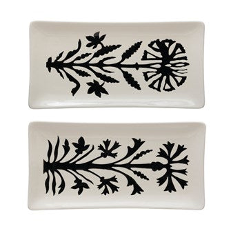 Stoneware Platter with Floral Design (2 Styles)