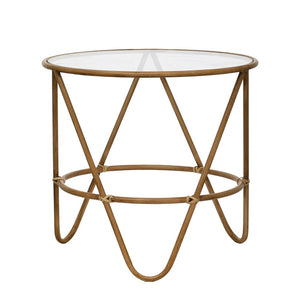 Metal Bamboo-Style Table w/ Glass Top