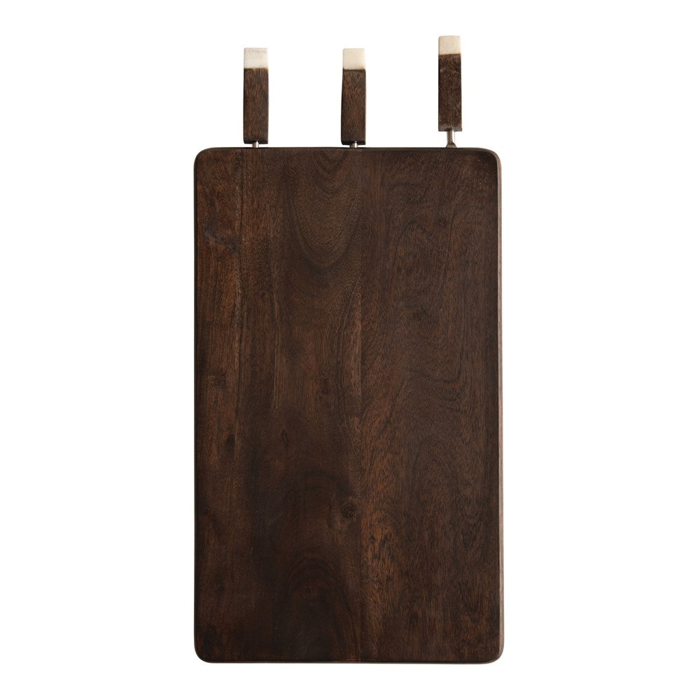 Acacia Wood Cheese/Cutting Board with Inset Wood & Marble Cheese Knives